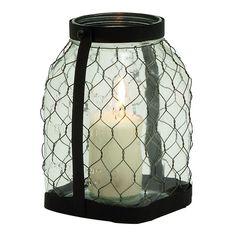 Farmhouse Large Jar Lantern Candle Holder, Red