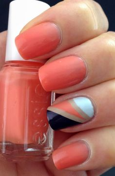 Simple Color Blocking Nail Art