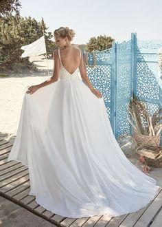 Boho Brautkleid schmale Träger Spitze Fließend Leicht Rembo Styling, Stella York, Fascinator, Pronovias, Lace Wedding, Wedding Dresses, Boho, Fashion, Marriage Dress