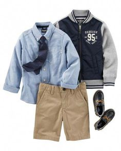 e5cc32939 He'll look crisp for class in a zip-up varsity jacket over button · School Uniform  OutfitsBack ...