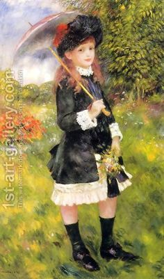 Girl With A Parasol Aka Aline Nunes by Pierre Auguste Renoir