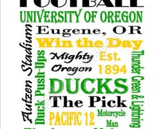 Printable University of Oregon Ducks Football Subway Art Sign