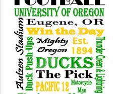 Printable University of Oregon Ducks Football Subway Art Sign Oregon Ducks Football, Ohio State Football, Ohio State Buckeyes, American Football, Florida State University, Florida State Seminoles, Duck Art, Duck Duck, Football Quotes