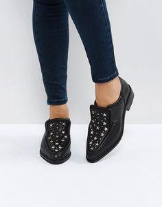 adb1d90d4d77 Sol Sana Nancy Black Star Studded Leather Flat Shoes at asos.com