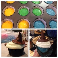 "Which house do you belong to at Hogwarts? Divide white cake batter into four bowls and color each bowl red, green, blue, or yellow to represent each of the four houses. Pour into black cupcake liners and completely cover with icing. Top with a ""sorting hat"" made of chocolate fondant."