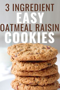If you are looking for the best oatmeal raising cookie recipe, you've found it! This easy recipe is healthy, gluten free, has very few ingredients (only and makes the most delicious chewy cookies :) Easy Oatmeal Raisin Cookies, Healthy Oatmeal Cookies, Healthy Cookie Recipes, Oatmeal Cookie Recipes, Healthy Sweets, Vegan Desserts, Easy Desserts, Baking Recipes, Dessert Recipes