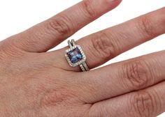 Princess Alexandrite Engagement Ring & Matching Band by RareEarth