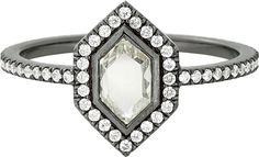 Mini Hero portrait-cut diamond ring in 18k blackened white gold; $12,250; Eva Fehren