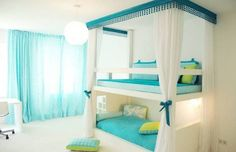 Furniture , Bunk Beds For Twin Girls : Bunk Beds For Twin Girls With Blue Bedding And White Curtains