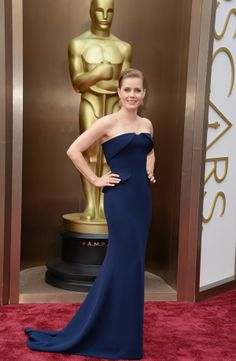 Oscars 2014 Amy Adams stuns in her navy gown on the red carpet 86th Oscars - 2014 via oscar.go.com