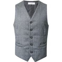 Strasburgo 'Lardini' waistcoat ($235) ❤ liked on Polyvore featuring men's fashion, men's clothing, men's outerwear, men's vests, grey, mens grey vest, mens gray vest, mens grey wool vest and mens wool vest