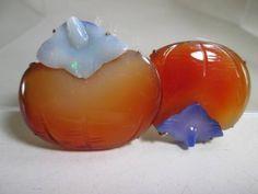 【江月】アンティーク・本瑪瑙にオパール紫瑪瑙柿の帯留め_画像1                                                                                                                                                      もっと見る