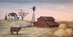 Prairie Landscape - hooked rug (Victoriahartingalls.com)