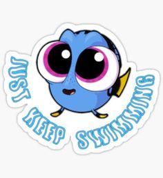 Pegatina Simplemente sigue nadar # 2