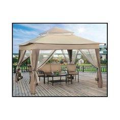 Outdoor Screened Gazebo Patio Garden Shade 10x10 Canopy Tent Deck Portable Steel  sc 1 st  Pinterest & 10x10 Portable Gazebo Pergola w/ Mosquito Netting Single Roof ...
