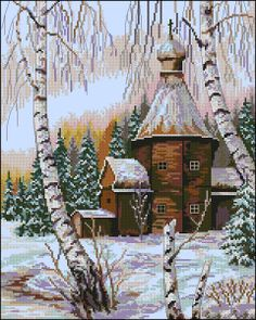 Winter dawn-free cross-stitch pattern | Cross-Stitch Club