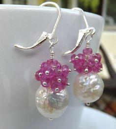 Kasumi like pearl hot pink sapphire earrings by SimplyAdorned4U, $75.00