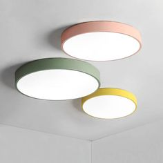 Cheap ceiling light pink, Buy Quality modern led ceiling lights directly from China ceiling lights Suppliers: Macaron ultra-thin Modern LED ceiling lights Pink/Yellow/Green Body ceiling Lamp For living room bedroom lamparas de techo Low Ceiling Lighting, Modern Led Ceiling Lights, Led Ceiling Lamp, Ceiling Lights For Bedroom, Light Fixtures Bedroom Ceiling, Ceiling Ideas, Living Room Lighting, Bedroom Lighting, Lustre Led