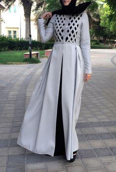 Criss-Cross Abaya Gown - Light Grey