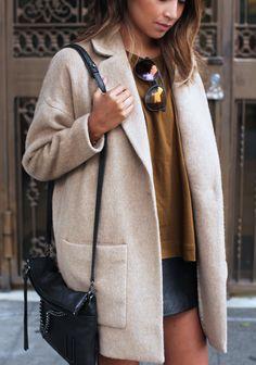 ARMANI EXCHANGE camel wool coat | Sincerely Jules