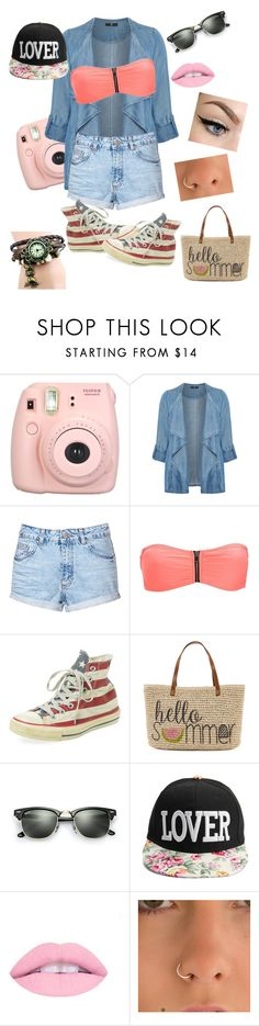 """""""Summer...."""" by maria-eugenia-i on Polyvore featuring beauty, Fujifilm, Evans, Topshop, Charlotte Russe, Converse, Straw Studios and Ray-Ban"""