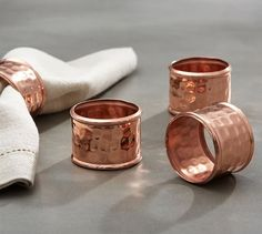 Hammered Copper Napkin Ring Set | Pottery Barn