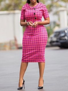 Ericdress Short Sleeve Knee-Length Plaid Bodycon Dress Online store for the latest fashion & trends in women's collection. Shop affordable ladies' Dresses, Clothing, Shoes & Accessories with top quality. African Attire, African Wear, African Dress, Plaid Fashion, Look Fashion, Fashion Outfits, Dress Fashion, Cheap Fashion, Office Dresses For Women