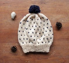Hey, I found this really awesome Etsy listing at https://www.etsy.com/listing/178836550/cream-knit-hat-with-navy-blue-speckles