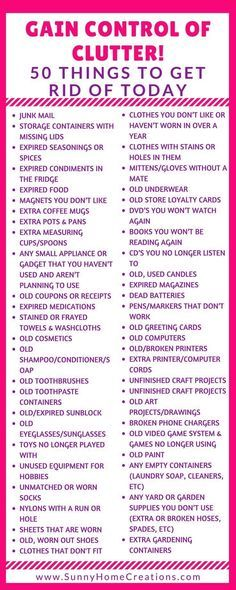 Decluttering Tips - 50 Items to Get Rid Of Today! Gain control over your clutter! 50 Things to get rid of today! You can throw these out, sell them for some easy extra cash or donate these items to so Organisation Hacks, Clutter Organization, College Organization, Bedroom Organization, Declutter Home, Declutter Your Life, Organizing Your Home, Organizing Ideas, Organizing Labels
