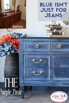 Dixie Belle Paint has Just the Right shade of Blue! Try the for an Easy and Affordable way to sp Blue Painted Furniture, Distressed Furniture, Paint Furniture, Repurposed Furniture, Furniture Makeover, Home Furniture, Dresser Makeovers, Refinished Furniture, Furniture Design