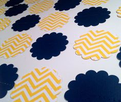 Yellow Chevron and Navy Blue Paper Garland Birthday Party Decor, Baby Shower Decor, Nursery Decoration, Wedding Shower Decor, Etc! on Etsy, $8.75