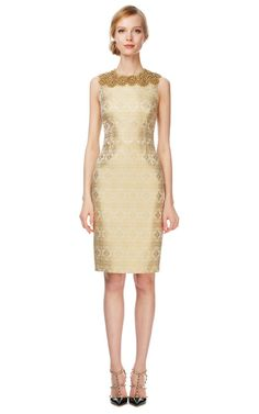 Shop White Indian Brocade Gold Jeweled Yoke by Vera Wang Now Available on Moda Operandi