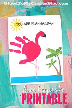 Handprint Art Discover FLA-MAZING - Handprint Flamingo Keepsake Printable FLA-MAZING Handprint Flamingo Keepsake Printable - Not only is it great to make during the summer break BUT its also a great gift idea! Daycare Crafts, Baby Crafts, Daycare Rooms, Fun Crafts, Paper Crafts, Toddler Art, Toddler Crafts, Summer Crafts For Kids, Art For Kids