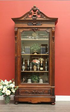 Antique French Rosewood and Oak Bevelled Glass Bookcase / Display China Cabinet