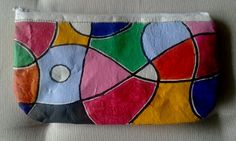 plastic fused zippered pouch - painted using acrylics - #upcycle #zippered