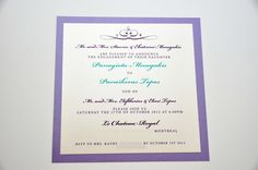Engagement invitation on Mettalix paper and Purple Mettalix paper background with small diamond embellishments.   Design & printed by MGS Marketing