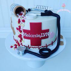 Nurse cake, buttercream, fondant, syringe, pills, pill bottle, stethoscope, LVN, RN