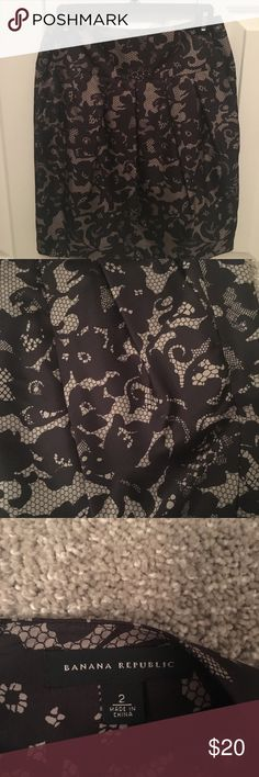 Lace Patterned Silk Skirt Pretty lace patterned 100% silk skirt perfect for the holidays! Pair with black tights and flats or booties for a really cute and polished look. Banana Republic Skirts
