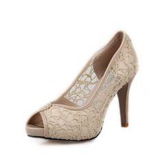 Ægte Læder Stof Kegle Hæl sandaler Platform Kigge Tå sko