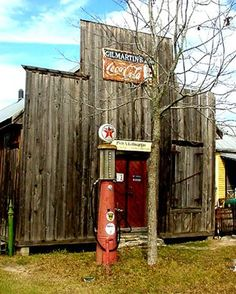 Old gas pump and gas staton