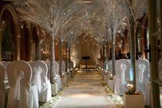 Lovely winter wedding aisle set-up.