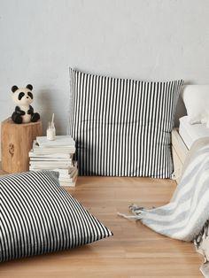 """Black & White Vertical Stripes"" Floor Pillow by 89BLACK   Redbubble"