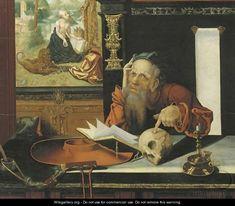 Ecole flamande. Deuxième moitié du 16ème siècle. Imitateur de Marinus van Reymerswaele. Saint Jérôme.