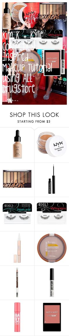"""""""Kim K + Kylie Cosmetics Inspired Makeup Tutorial using ALL Drugstore  """" by oroartye-1 on Polyvore featuring beauty, NYX, Ardell, L'Oréal Paris, Rimmel, Maybelline and Wet n Wild"""