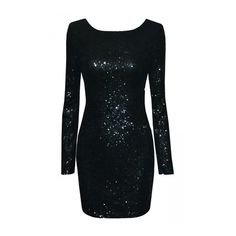 Black Sequined Backless Sexy Chic Ladies Long Sleeve Dress (5.290 HUF) ❤ liked on Polyvore featuring dresses, longsleeve dress, sexy sequin dresses, long sleeve dress, long sleeve cocktail dresses and backless dresses