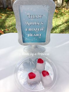 """""""Thaw Anna's Frozen Heart"""" game - freeze a plastic heart in an ice cube. Kids have to melt the ice to save Anna's heart! Frozen Party"""