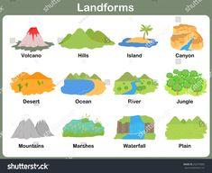 Types Of Landforms For Kids Worksheets Landforms Worksheet, Geography Worksheets, Social Studies Worksheets, Kindergarten Worksheets, Worksheets For Kids, Preschool Activities, Geography Activities, Geography For Kids, Teaching Geography