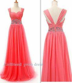 Amazing watermelon red chiffon handmade floor-length beaded halter prom dress, graduation dress, bridesmaid dress with sequins