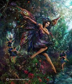 """Fairies in the wood. - By Brooke Gillette. - Board """"Art-Brooke Gillette"""". -"""
