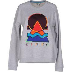 Kenzo Sweatshirt (1 280 SEK) ❤ liked on Polyvore featuring tops, hoodies, sweatshirts, light grey, embroidered sweatshirts, long sleeve sweatshirt, kenzo sweatshirt, logo sweatshirts and embroidered top